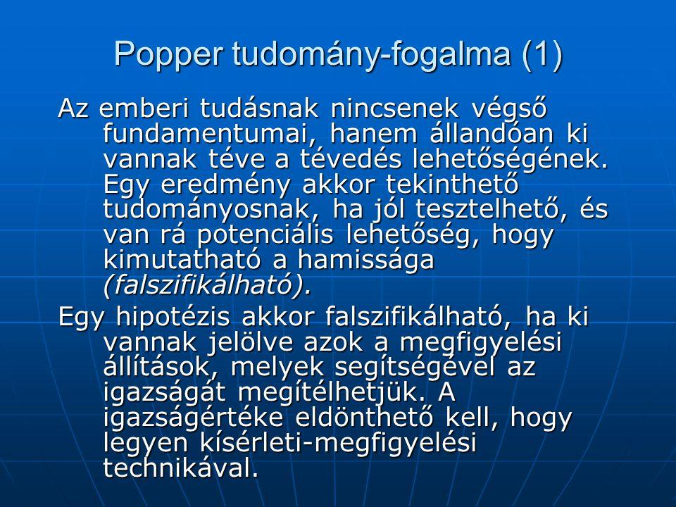 Popper tudomány-fogalma (1) Az emberi tudásnak nincsenek végső fundamentumai, hanem állandóan ki vannak téve a tévedés lehetőségének. Egy eredmény akk