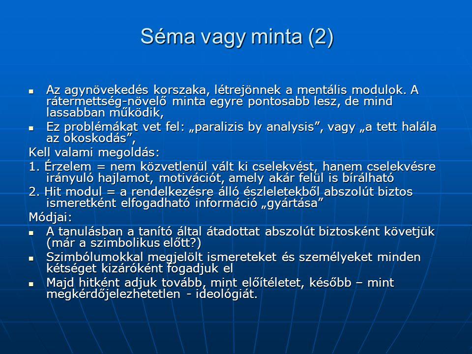 Séma vagy minta (3) Később alakul ki egy másik megoldás: a tudomány létrehozása.