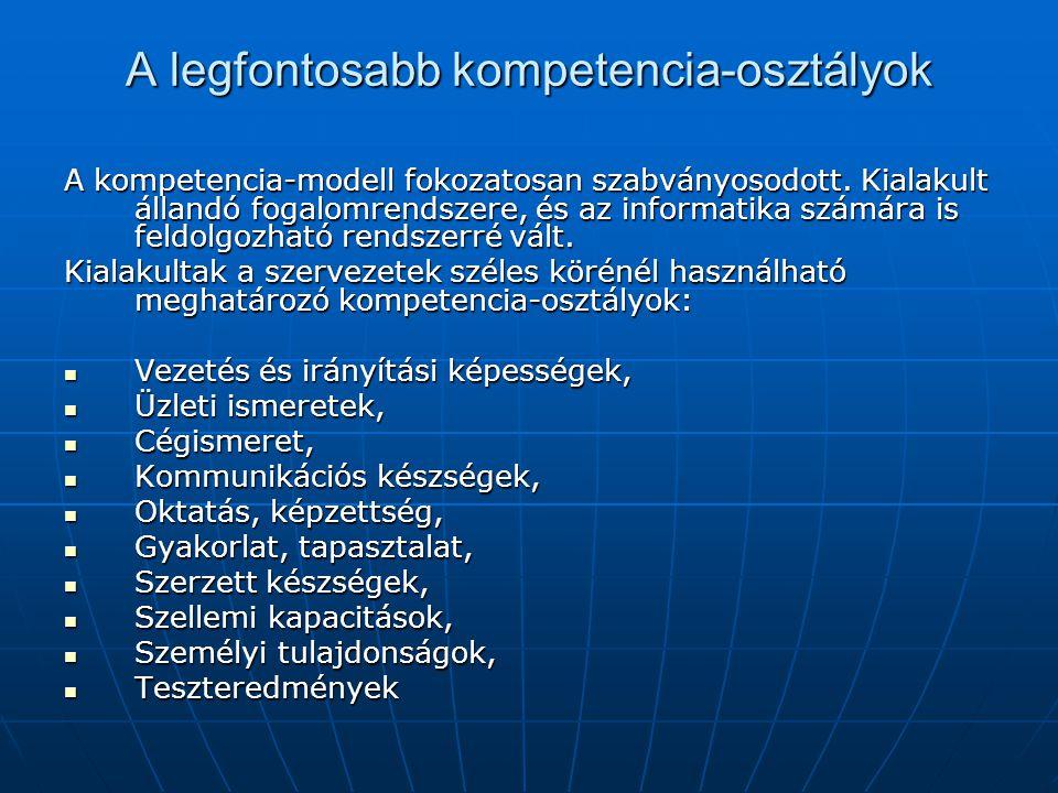 A legfontosabb kompetencia-osztályok A kompetencia-modell fokozatosan szabványosodott. Kialakult állandó fogalomrendszere, és az informatika számára i