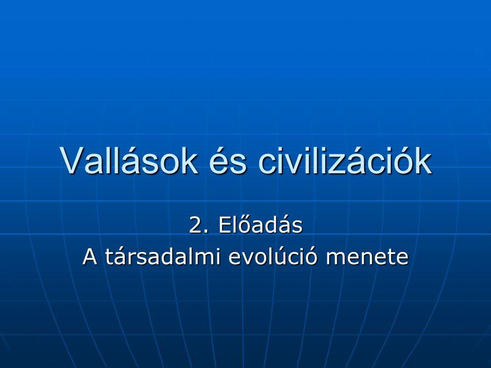Vallások és civilizációk 2. Előadás A társadalmi evolúció menete