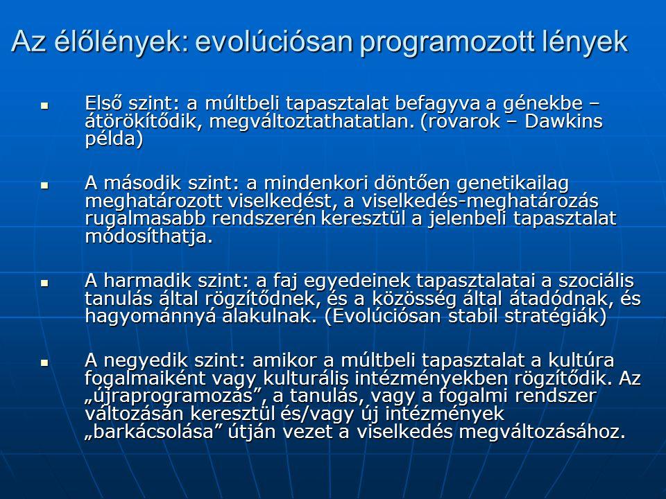 Az élőlények: evolúciósan programozott lények Első szint: a múltbeli tapasztalat befagyva a génekbe – átörökítődik, megváltoztathatatlan.
