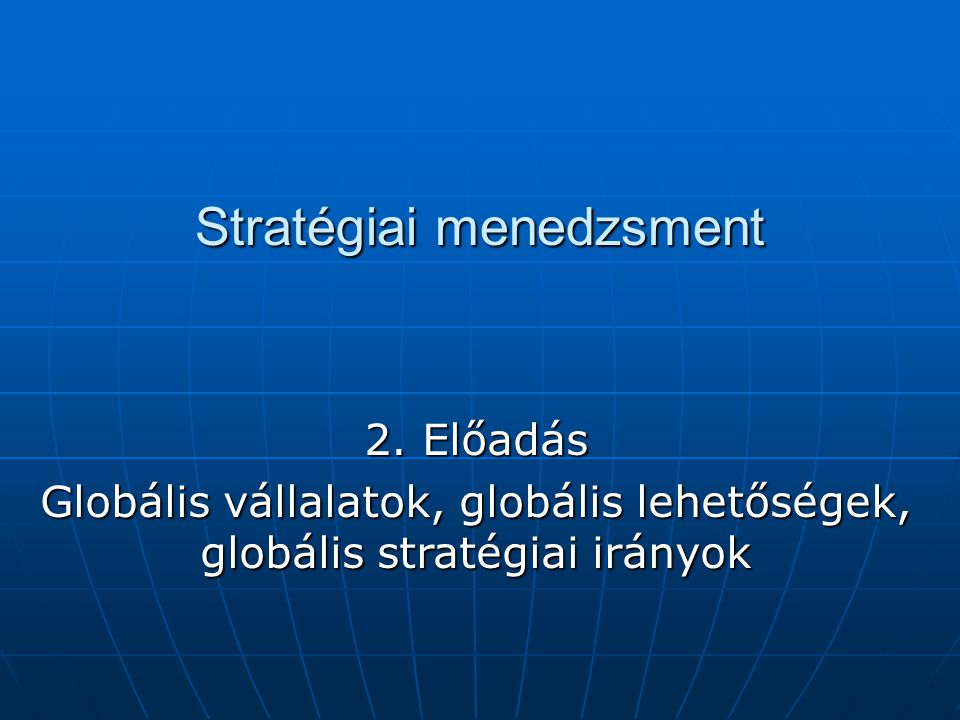 Stratégiai menedzsment 2.
