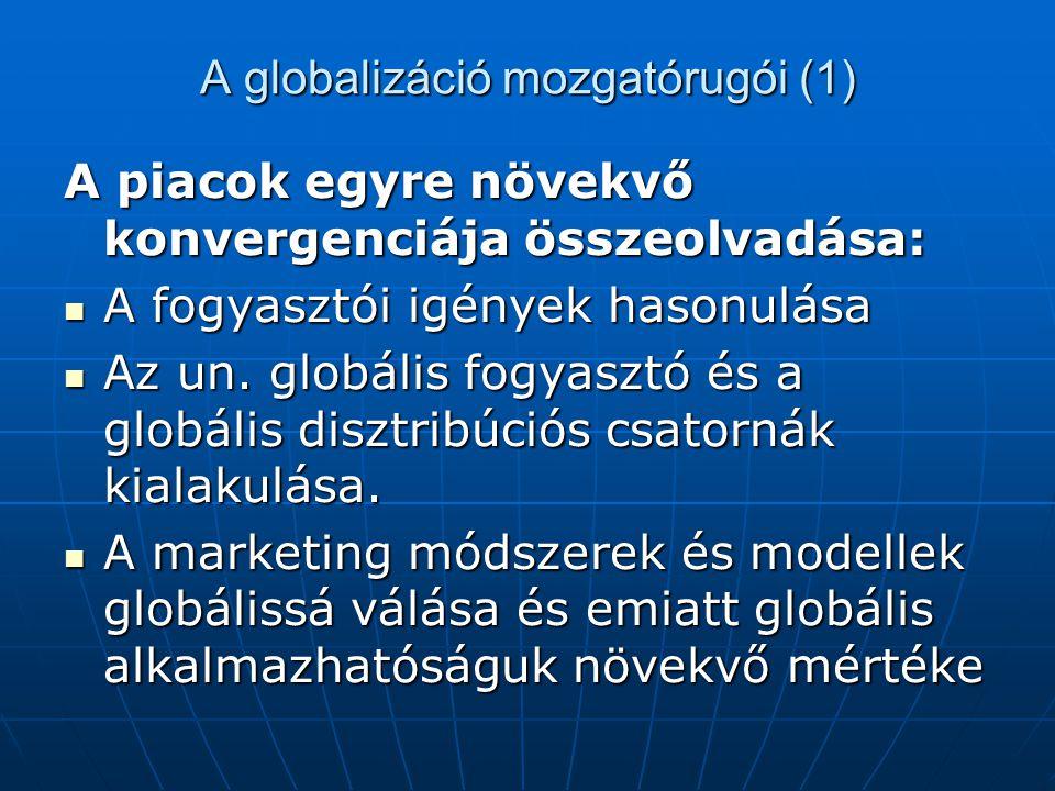 A globalizáció mozgatórugói (1) A piacok egyre növekvő konvergenciája összeolvadása: A fogyasztói igények hasonulása A fogyasztói igények hasonulása Az un.