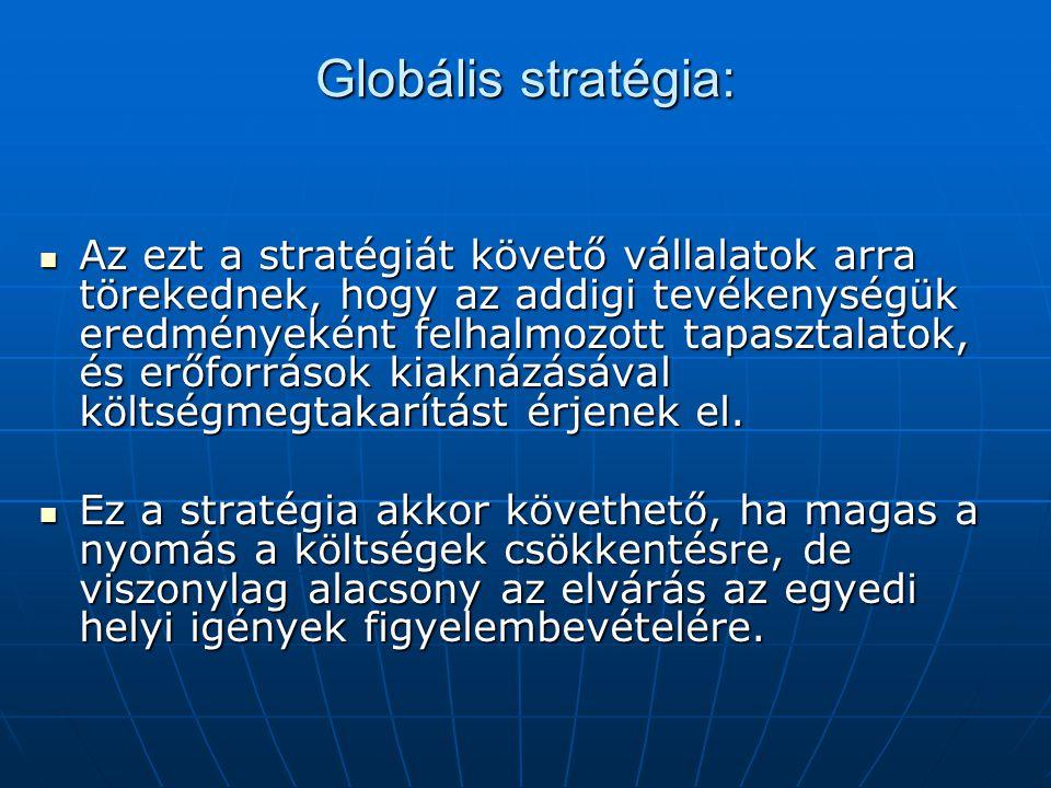 Globális stratégia: Az ezt a stratégiát követő vállalatok arra törekednek, hogy az addigi tevékenységük eredményeként felhalmozott tapasztalatok, és erőforrások kiaknázásával költségmegtakarítást érjenek el.
