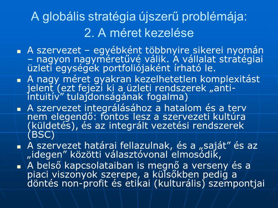 A globális stratégia újszerű problémája: 2.