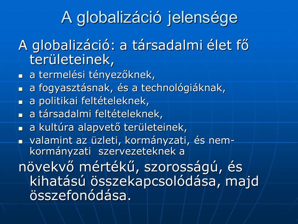 A globalizáció jelensége A globalizáció: a társadalmi élet fő területeinek, a termelési tényezőknek, a termelési tényezőknek, a fogyasztásnak, és a technológiáknak, a fogyasztásnak, és a technológiáknak, a politikai feltételeknek, a politikai feltételeknek, a társadalmi feltételeknek, a társadalmi feltételeknek, a kultúra alapvető területeinek, a kultúra alapvető területeinek, valamint az üzleti, kormányzati, és nem- kormányzati szervezeteknek a valamint az üzleti, kormányzati, és nem- kormányzati szervezeteknek a növekvő mértékű, szorosságú, és kihatású összekapcsolódása, majd összefonódása.