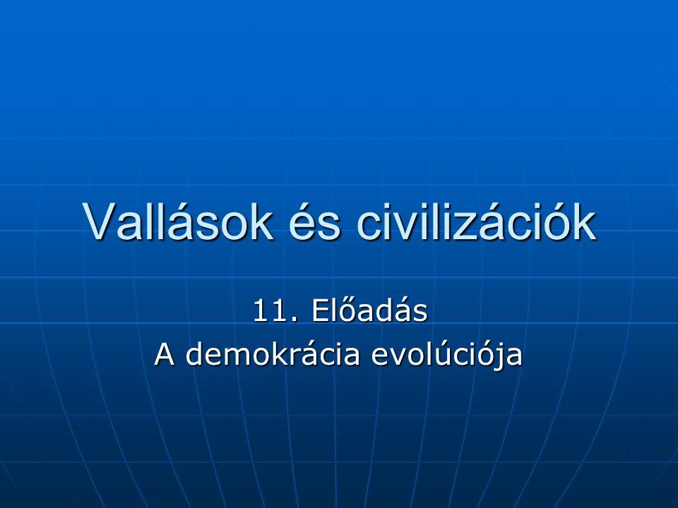 Vallások és civilizációk 11. Előadás A demokrácia evolúciója