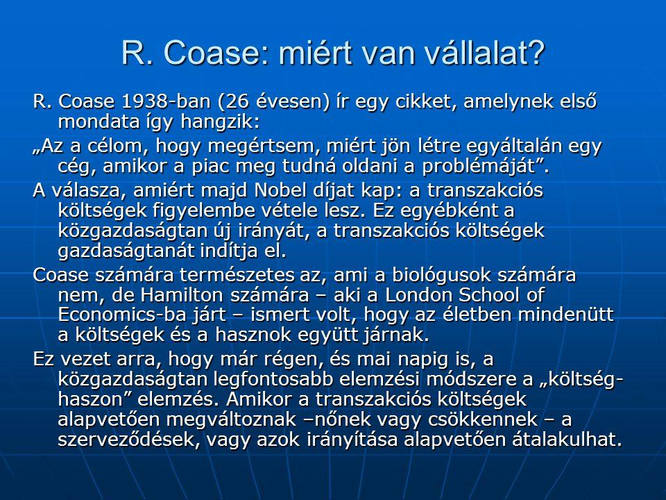 R. Coase: miért van vállalat. R.