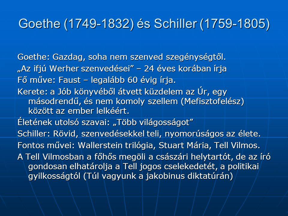 """Goethe (1749-1832) és Schiller (1759-1805) Goethe: Gazdag, soha nem szenved szegénységtől. """"Az ifjú Werher szenvedései"""" – 24 éves korában írja Fő műve"""