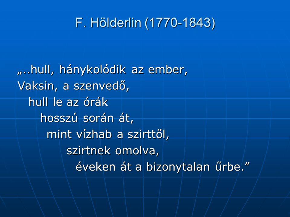 """F. Hölderlin (1770-1843) """"..hull, hánykolódik az ember, Vaksin, a szenvedő, hull le az órák hosszú során át, hosszú során át, mint vízhab a szirttől,"""
