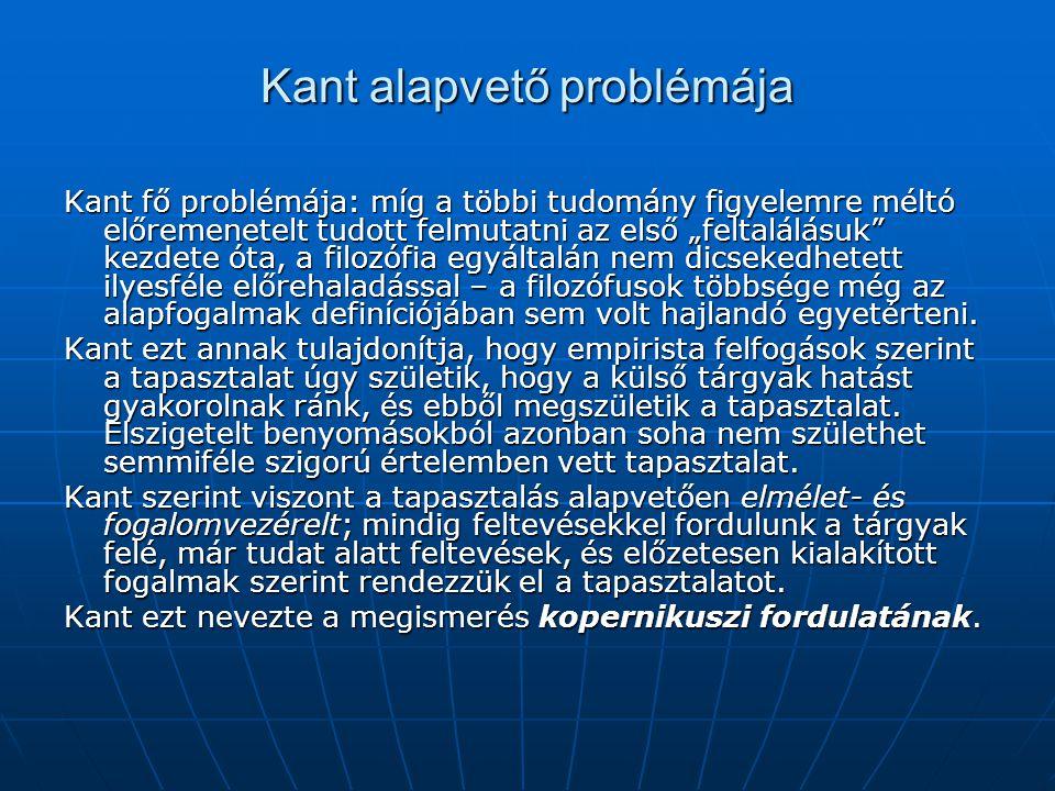"""Kant alapvető problémája Kant fő problémája: míg a többi tudomány figyelemre méltó előremenetelt tudott felmutatni az első """"feltalálásuk"""" kezdete óta,"""