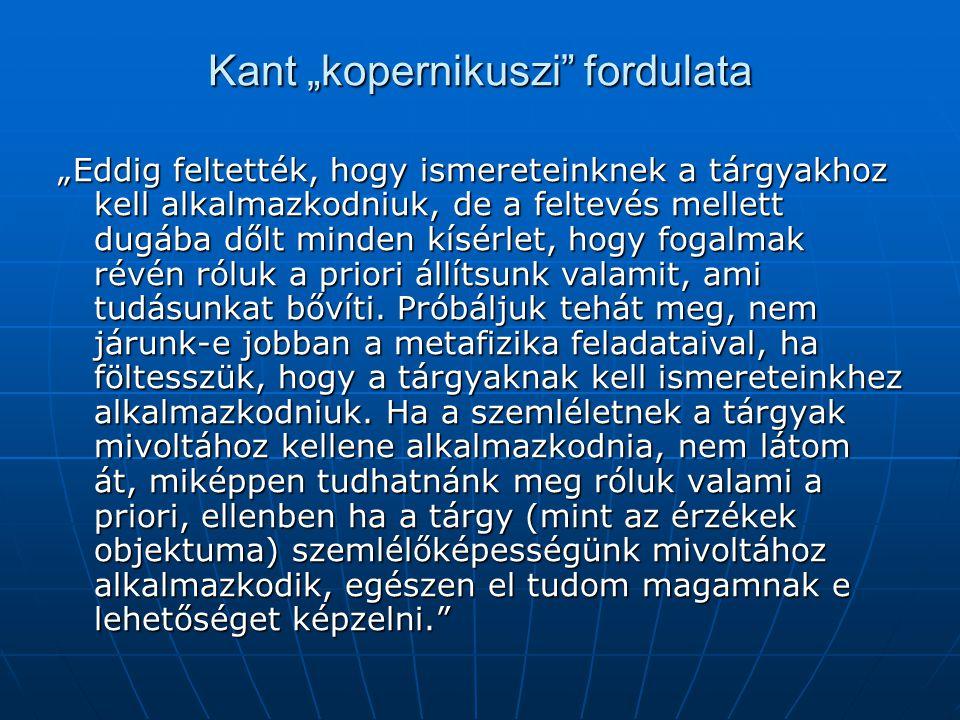 """Kant """"kopernikuszi"""" fordulata """"Eddig feltették, hogy ismereteinknek a tárgyakhoz kell alkalmazkodniuk, de a feltevés mellett dugába dőlt minden kísérl"""