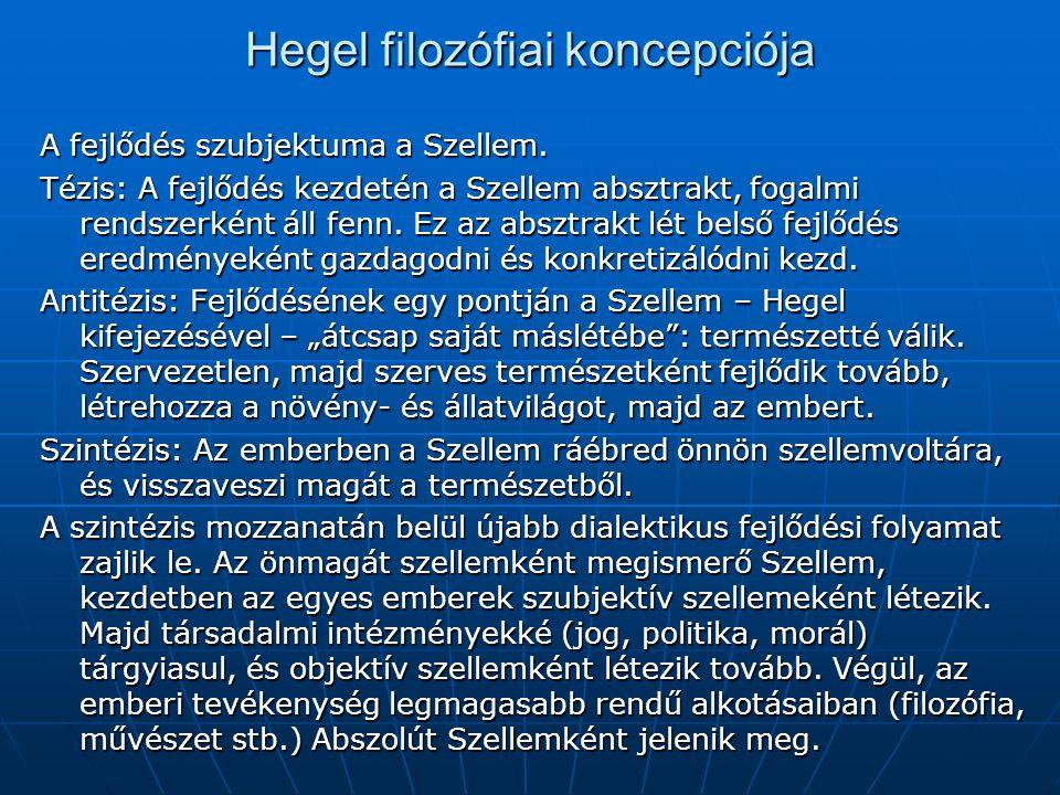 Hegel filozófiai koncepciója A fejlődés szubjektuma a Szellem. Tézis: A fejlődés kezdetén a Szellem absztrakt, fogalmi rendszerként áll fenn. Ez az ab