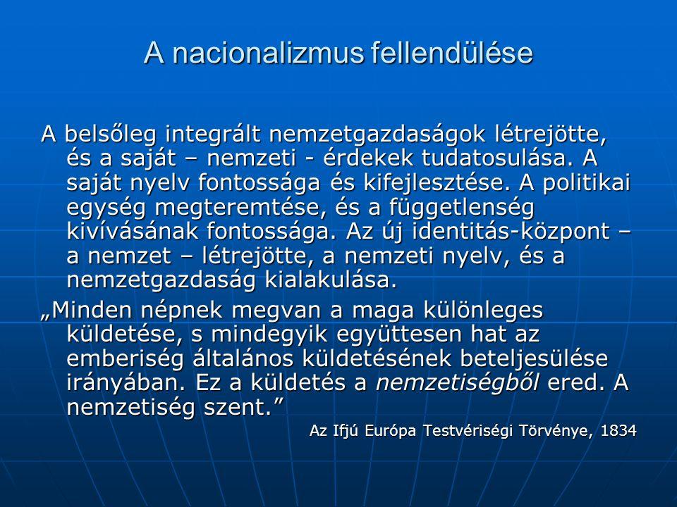 A nacionalizmus fellendülése A belsőleg integrált nemzetgazdaságok létrejötte, és a saját – nemzeti - érdekek tudatosulása. A saját nyelv fontossága é