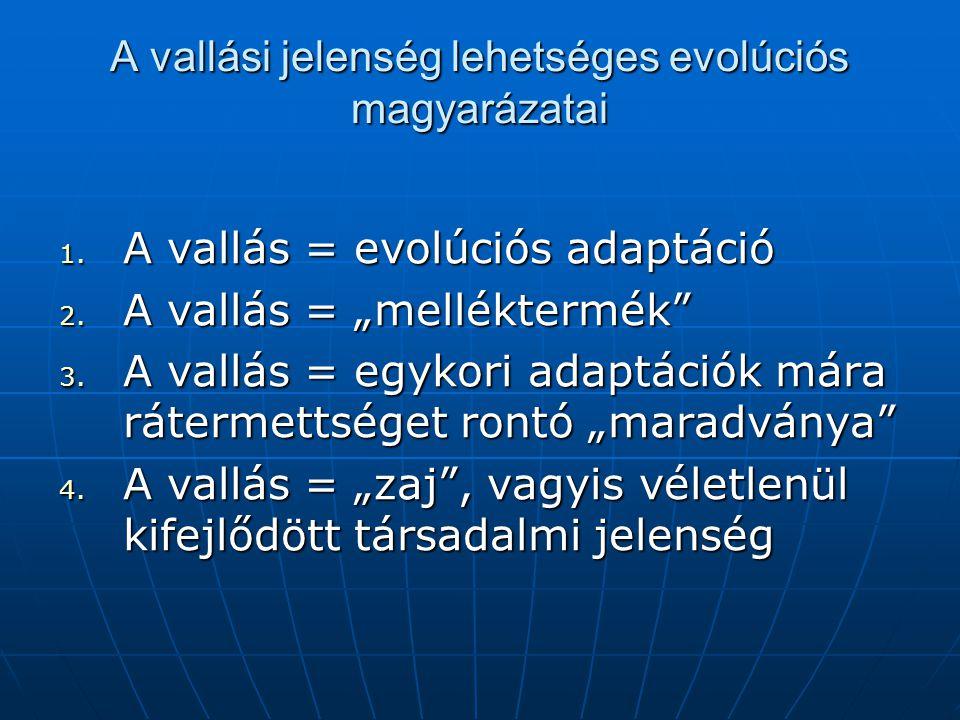 """A vallási jelenség lehetséges evolúciós magyarázatai 1. A vallás = evolúciós adaptáció 2. A vallás = """"melléktermék"""" 3. A vallás = egykori adaptációk m"""