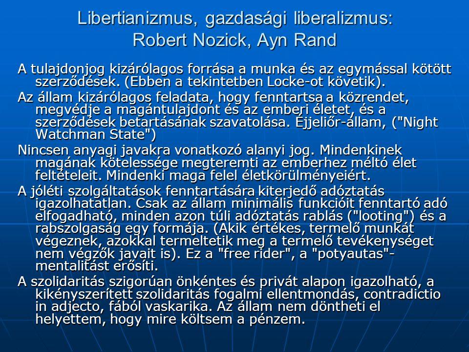 Libertianizmus, gazdasági liberalizmus: Robert Nozick, Ayn Rand A tulajdonjog kizárólagos forrása a munka és az egymással kötött szerződések. (Ebben a