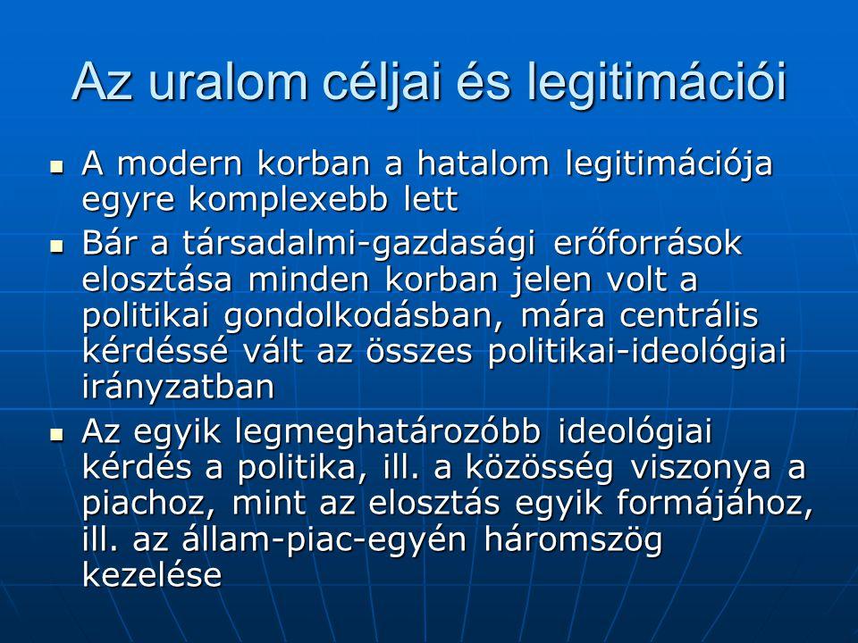 Az uralom céljai és legitimációi A modern korban a hatalom legitimációja egyre komplexebb lett A modern korban a hatalom legitimációja egyre komplexeb