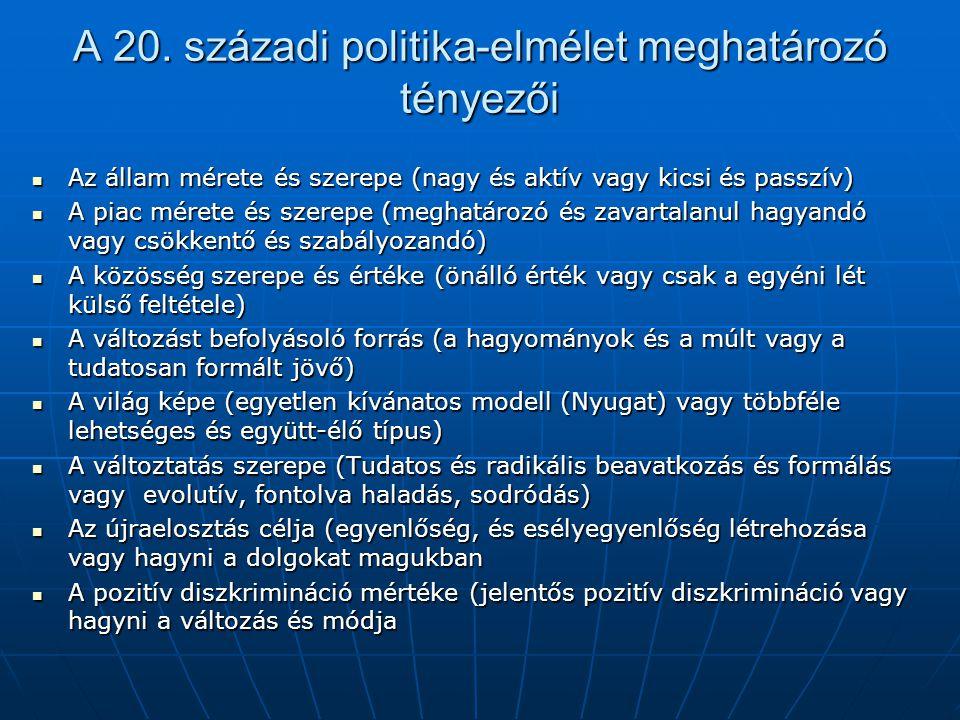 A 20. századi politika-elmélet meghatározó tényezői Az állam mérete és szerepe (nagy és aktív vagy kicsi és passzív) Az állam mérete és szerepe (nagy