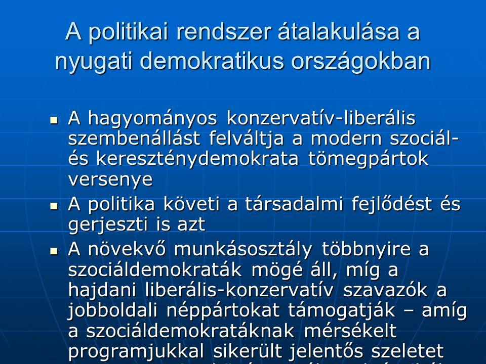 A politikai rendszer átalakulása a nyugati demokratikus országokban A hagyományos konzervatív-liberális szembenállást felváltja a modern szociál- és k