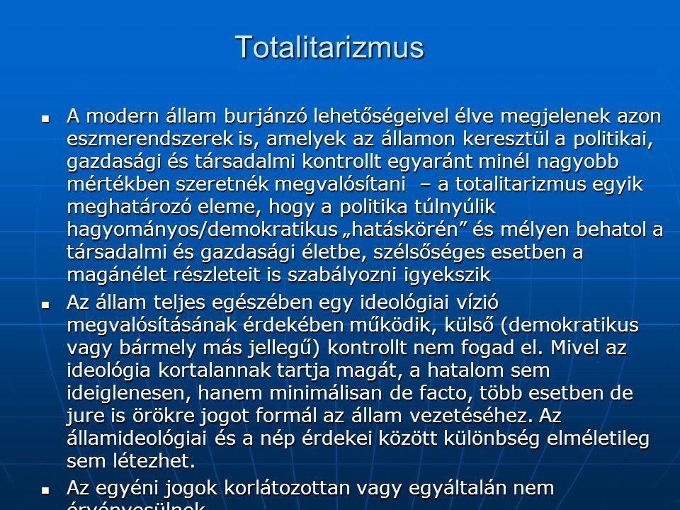 Totalitarizmus A modern állam burjánzó lehetőségeivel élve megjelenek azon eszmerendszerek is, amelyek az államon keresztül a politikai, gazdasági és