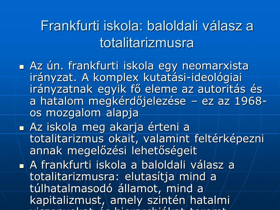 Frankfurti iskola: baloldali válasz a totalitarizmusra Az ún. frankfurti iskola egy neomarxista irányzat. A komplex kutatási-ideológiai irányzatnak eg