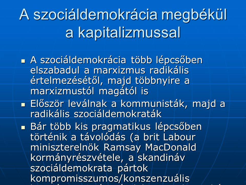 A szociáldemokrácia megbékül a kapitalizmussal A szociáldemokrácia több lépcsőben elszabadul a marxizmus radikális értelmezésétől, majd többnyire a ma