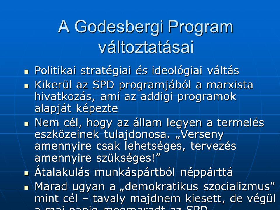 A Godesbergi Program változtatásai Politikai stratégiai és ideológiai váltás Politikai stratégiai és ideológiai váltás Kikerül az SPD programjából a m