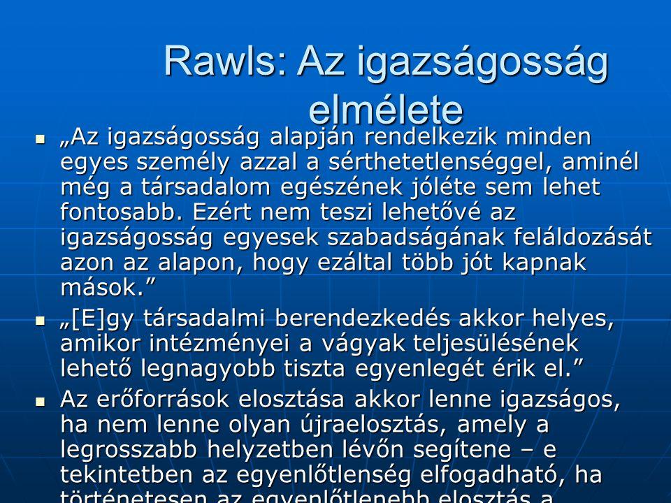 """Rawls: Az igazságosság elmélete """"Az igazságosság alapján rendelkezik minden egyes személy azzal a sérthetetlenséggel, aminél még a társadalom egészéne"""