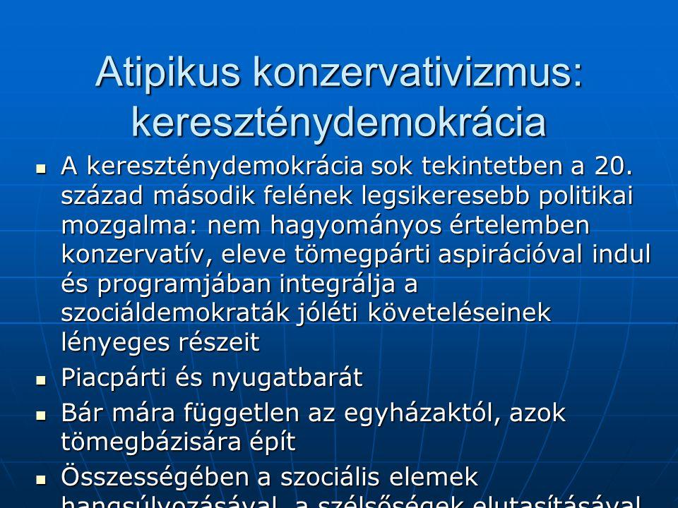 Atipikus konzervativizmus: kereszténydemokrácia A kereszténydemokrácia sok tekintetben a 20. század második felének legsikeresebb politikai mozgalma: