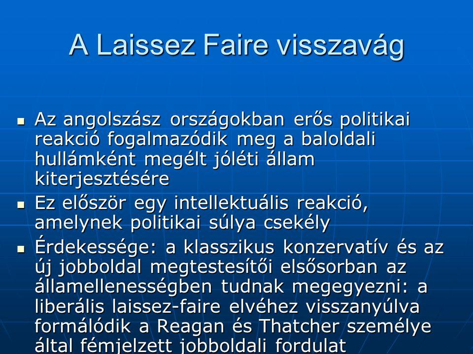 A Laissez Faire visszavág Az angolszász országokban erős politikai reakció fogalmazódik meg a baloldali hullámként megélt jóléti állam kiterjesztésére