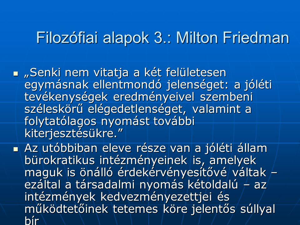 """Filozófiai alapok 3.: Milton Friedman """"Senki nem vitatja a két felületesen egymásnak ellentmondó jelenséget: a jóléti tevékenységek eredményeivel szem"""