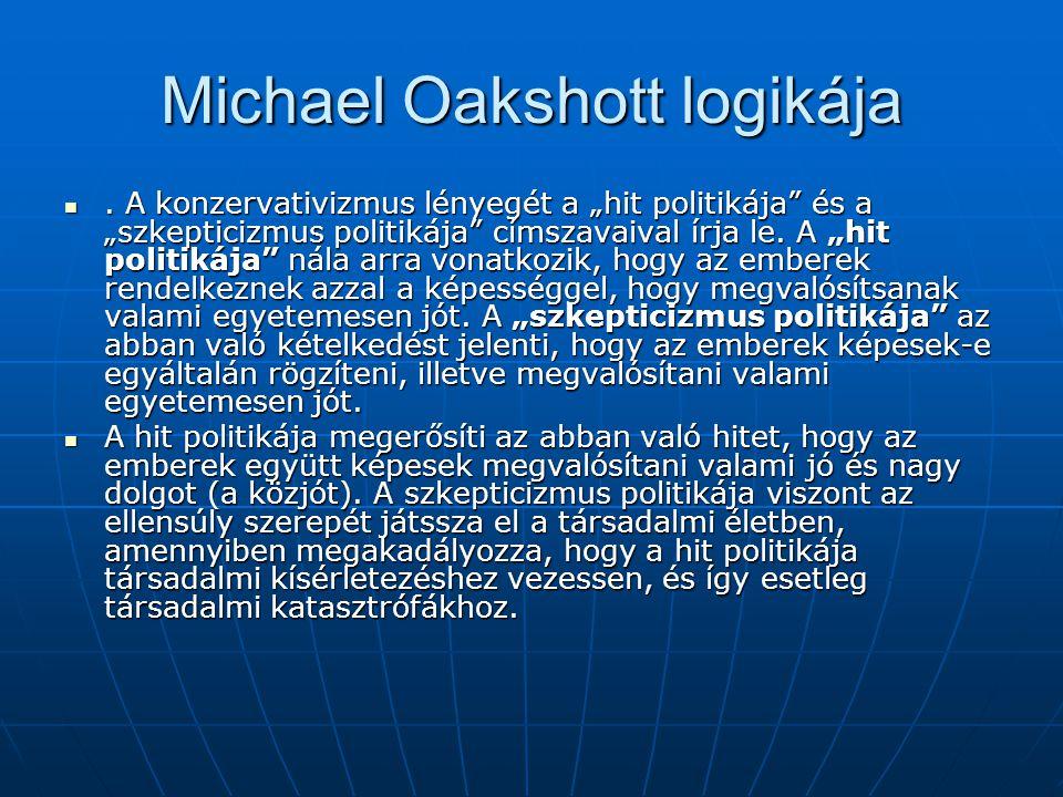 """Michael Oakshott logikája. A konzervativizmus lényegét a """"hit politikája"""" és a """"szkepticizmus politikája"""" címszavaival írja le. A """"hit politikája"""" nál"""