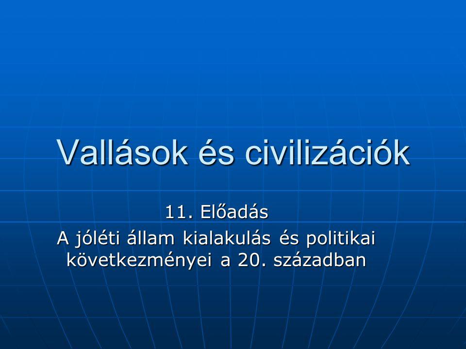 Vallások és civilizációk 11.Előadás A jóléti állam kialakulás és politikai következményei a 20.