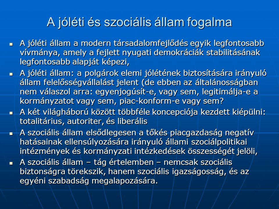 A jóléti és szociális állam fogalma A jóléti állam a modern társadalomfejlődés egyik legfontosabb vívmánya, amely a fejlett nyugati demokráciák stabilitásának legfontosabb alapját képezi, A jóléti állam a modern társadalomfejlődés egyik legfontosabb vívmánya, amely a fejlett nyugati demokráciák stabilitásának legfontosabb alapját képezi, A jóléti állam: a polgárok elemi jólétének biztosítására irányuló állam felelősségvállalást jelent (de ebben az általánosságban nem válaszol arra: egyenjogúsít-e, vagy sem, legitimálja-e a kormányzatot vagy sem, piac-konform-e vagy sem.