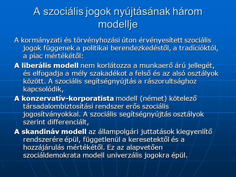 A szociális jogok nyújtásának három modellje A kormányzati és törvényhozási úton érvényesített szociális jogok függenek a politikai berendezkedéstől, a tradícióktól, a piac mértékétől: A liberális modell nem korlátozza a munkaerő árú jellegét, és elfogadja a mély szakadékot a felső és az alsó osztályok között.