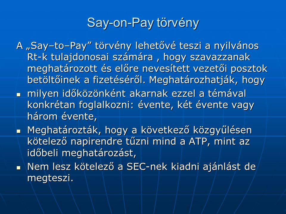 """Say-on-Pay törvény A """"Say–to–Pay törvény lehetővé teszi a nyilvános Rt-k tulajdonosai számára, hogy szavazzanak meghatározott és előre nevesített vezetői posztok betöltőinek a fizetéséről."""