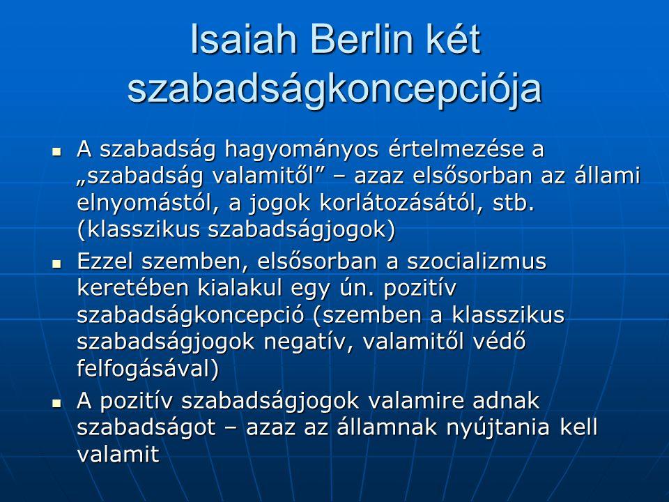 """Isaiah Berlin két szabadságkoncepciója A szabadság hagyományos értelmezése a """"szabadság valamitől – azaz elsősorban az állami elnyomástól, a jogok korlátozásától, stb."""