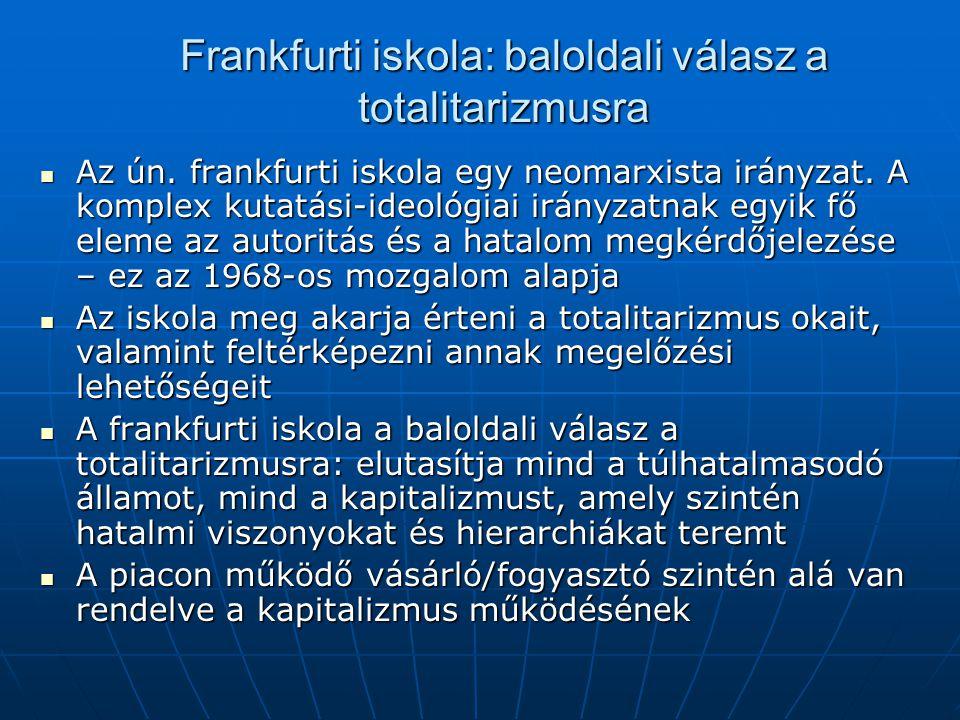 Frankfurti iskola: baloldali válasz a totalitarizmusra Az ún.