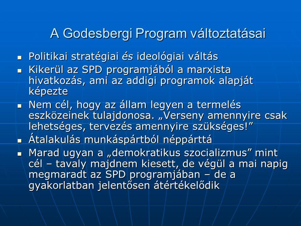 A Godesbergi Program változtatásai Politikai stratégiai és ideológiai váltás Politikai stratégiai és ideológiai váltás Kikerül az SPD programjából a marxista hivatkozás, ami az addigi programok alapját képezte Kikerül az SPD programjából a marxista hivatkozás, ami az addigi programok alapját képezte Nem cél, hogy az állam legyen a termelés eszközeinek tulajdonosa.