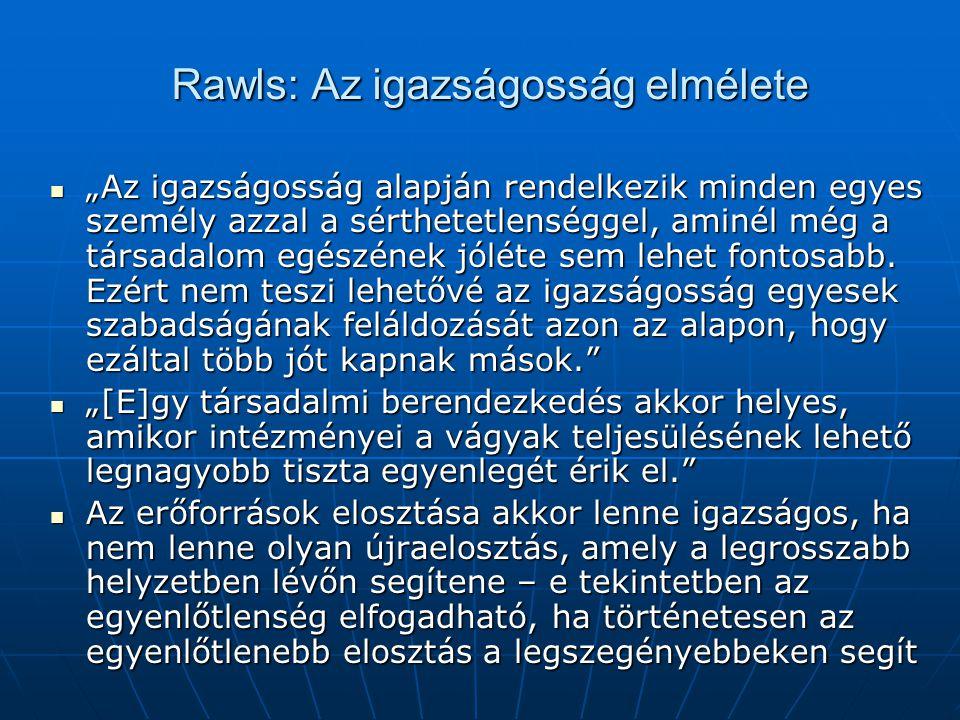 """Rawls: Az igazságosság elmélete """"Az igazságosság alapján rendelkezik minden egyes személy azzal a sérthetetlenséggel, aminél még a társadalom egészének jóléte sem lehet fontosabb."""