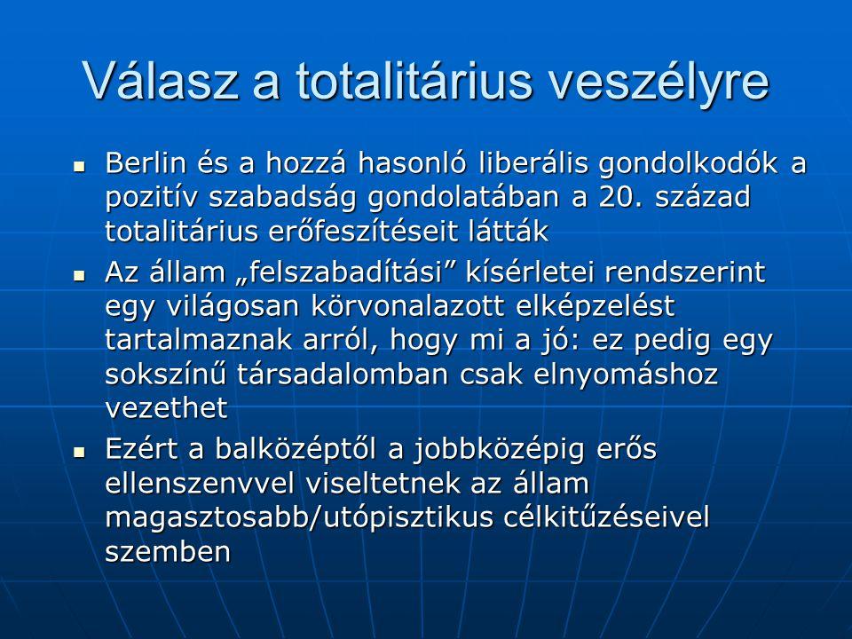 Válasz a totalitárius veszélyre Berlin és a hozzá hasonló liberális gondolkodók a pozitív szabadság gondolatában a 20.