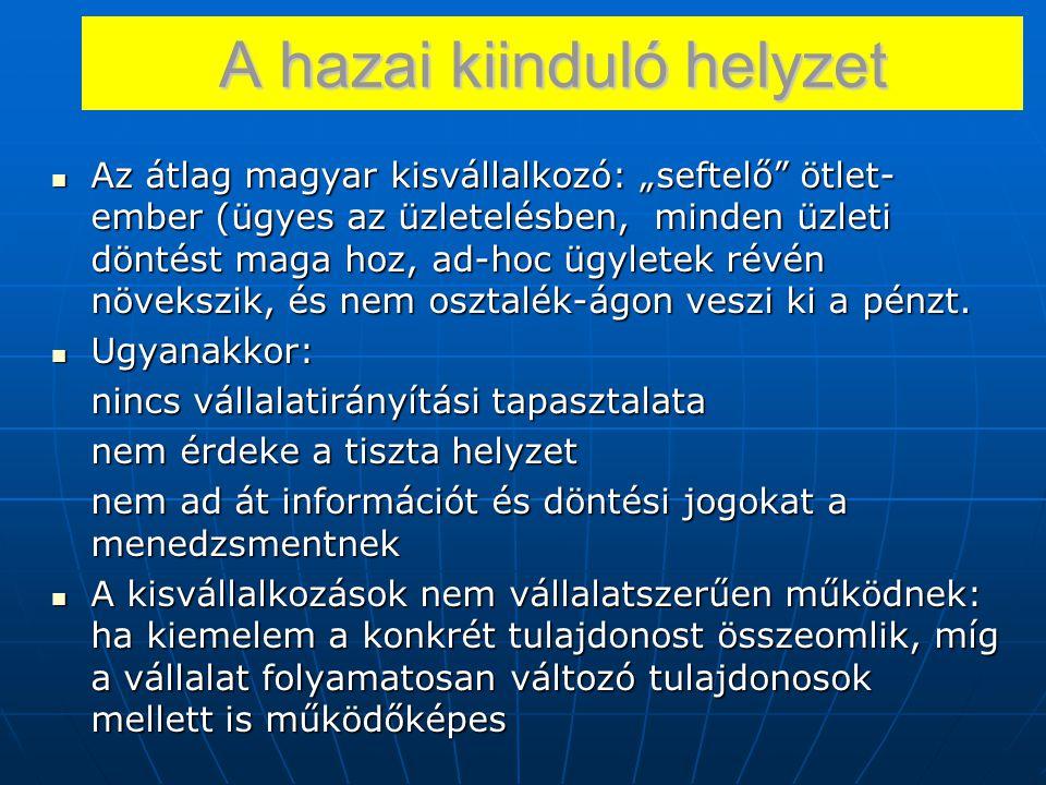 """A hazai kiinduló helyzet Az átlag magyar kisvállalkozó: """"seftelő"""" ötlet- ember (ügyes az üzletelésben, minden üzleti döntést maga hoz, ad-hoc ügyletek"""