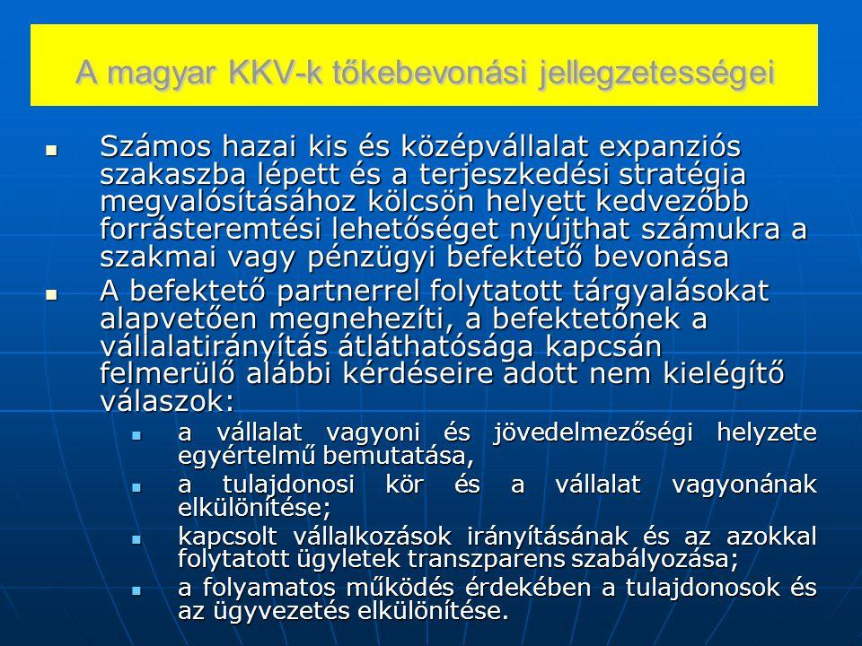 A magyar KKV-k tőkebevonási jellegzetességei Számos hazai kis és középvállalat expanziós szakaszba lépett és a terjeszkedési stratégia megvalósításáho