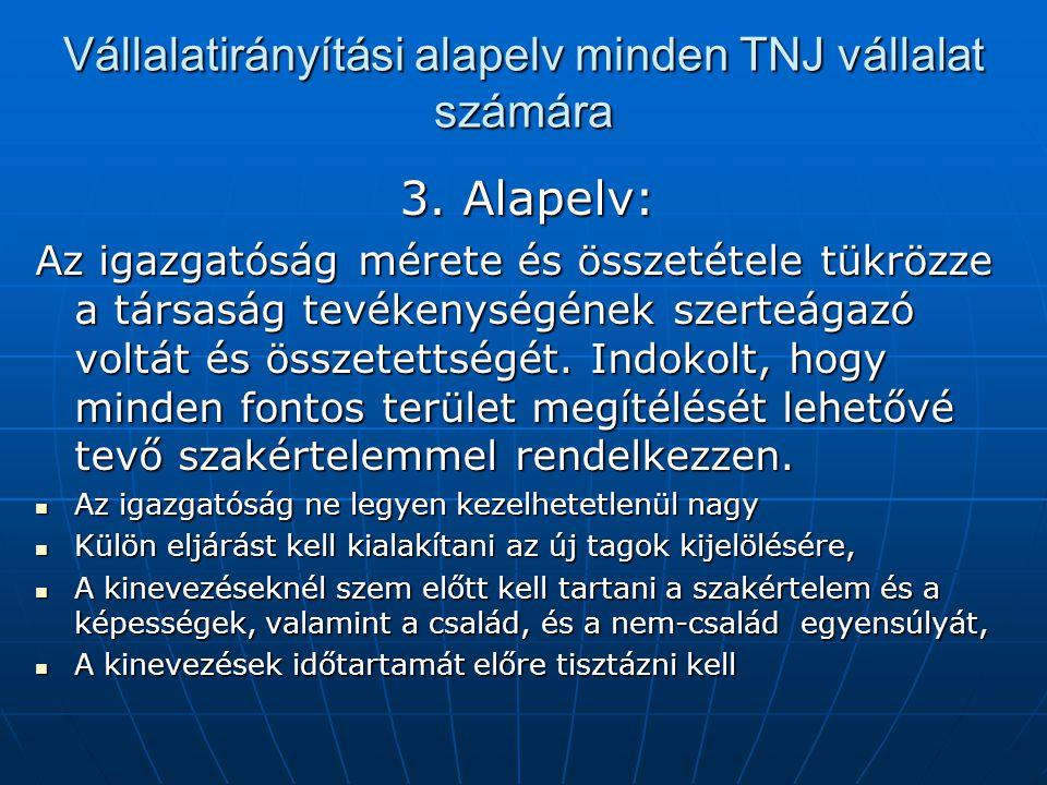 Vállalatirányítási alapelv minden TNJ vállalat számára 3. Alapelv: Az igazgatóság mérete és összetétele tükrözze a társaság tevékenységének szerteágaz
