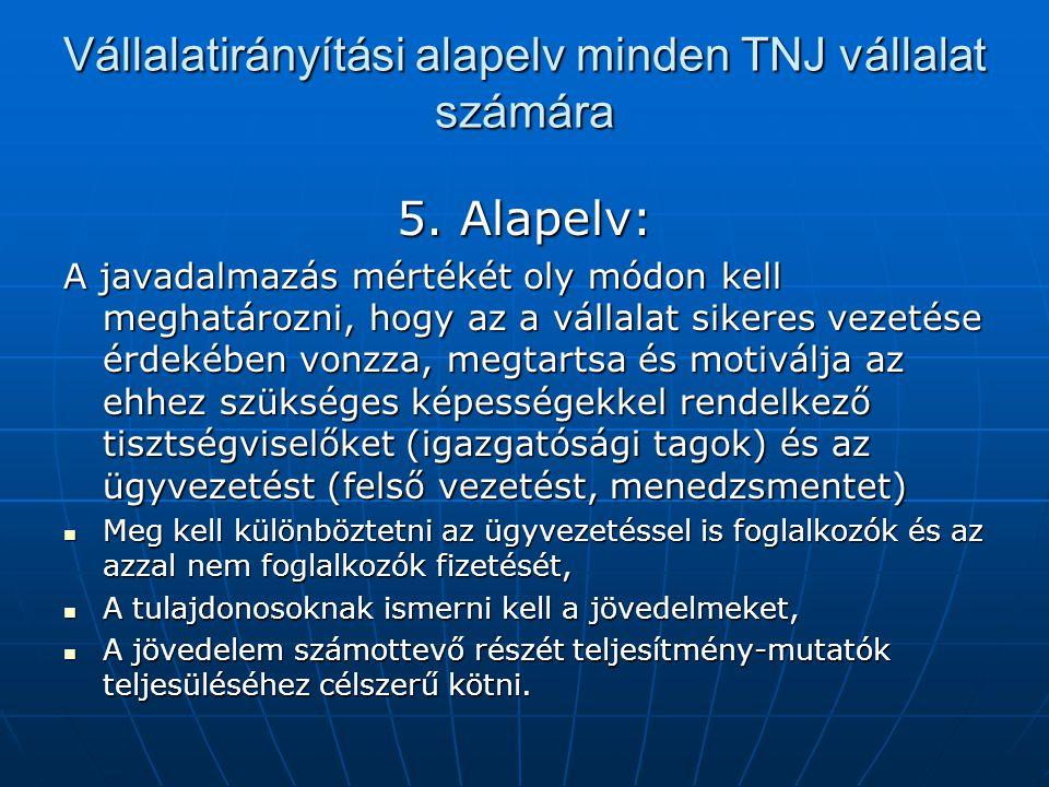 Vállalatirányítási alapelv minden TNJ vállalat számára 5. Alapelv: A javadalmazás mértékét oly módon kell meghatározni, hogy az a vállalat sikeres vez