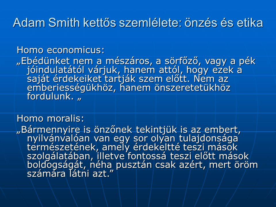 """Adam Smith kettős szemlélete: önzés és etika Homo economicus: """"Ebédünket nem a mészáros, a sörfőző, vagy a pék jóindulatától várjuk, hanem attól, hogy"""