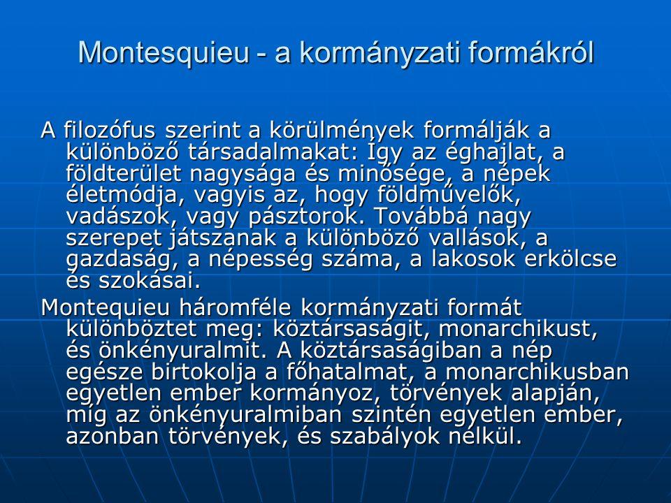 Montesquieu - a kormányzati formákról A filozófus szerint a körülmények formálják a különböző társadalmakat: Így az éghajlat, a földterület nagysága é