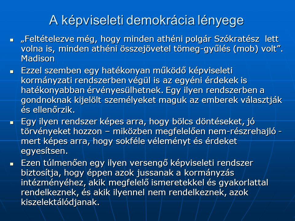 """A képviseleti demokrácia lényege """"Feltételezve még, hogy minden athéni polgár Szókratész lett volna is, minden athéni összejövetel tömeg-gyűlés (mob)"""