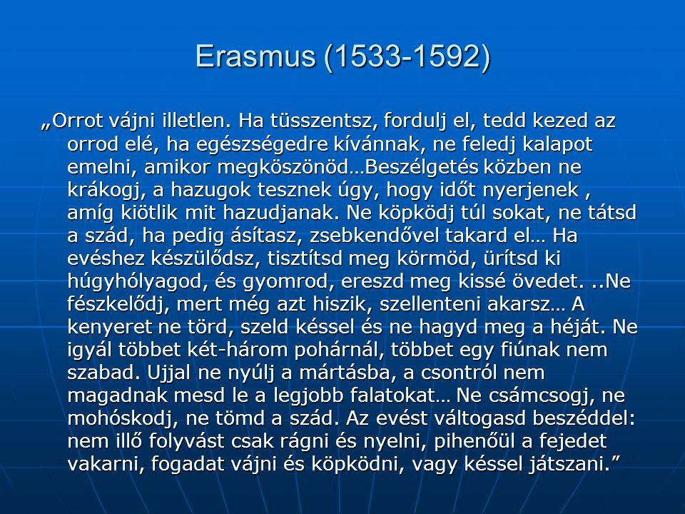 """Rotterdami Erasmus: A Balgaság dicsérete """"A Balgaság bemutatja kísérőit: Ez a felhúzott szemöldökű például a kis Magamatszeretemke."""