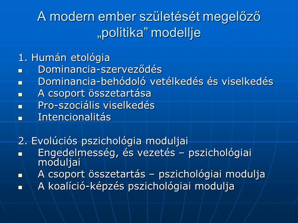 """A modern ember születését megelőző """"politika"""" modellje 1. Humán etológia Dominancia-szerveződés Dominancia-szerveződés Dominancia-behódoló vetélkedés"""
